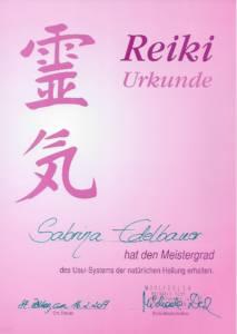 Urkunde Reiki-Meister