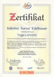 Zertifikat Yogalehrer